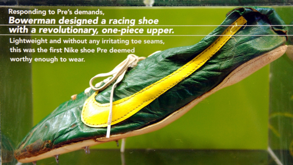 Nike spike worn by Steve Prefontaine at Niketown Eugene in Eugene, Ore.