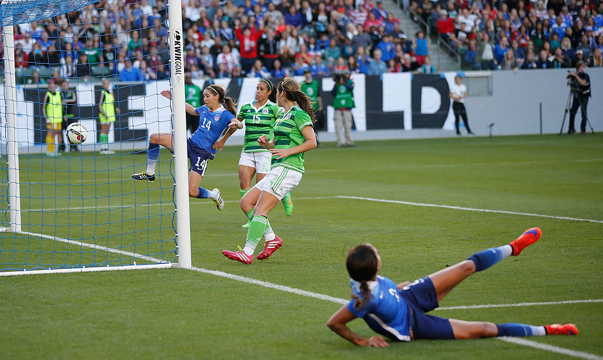 Leroux slides after kicking in the first goal against Mexico during their international friendly match on May 17, 2015.