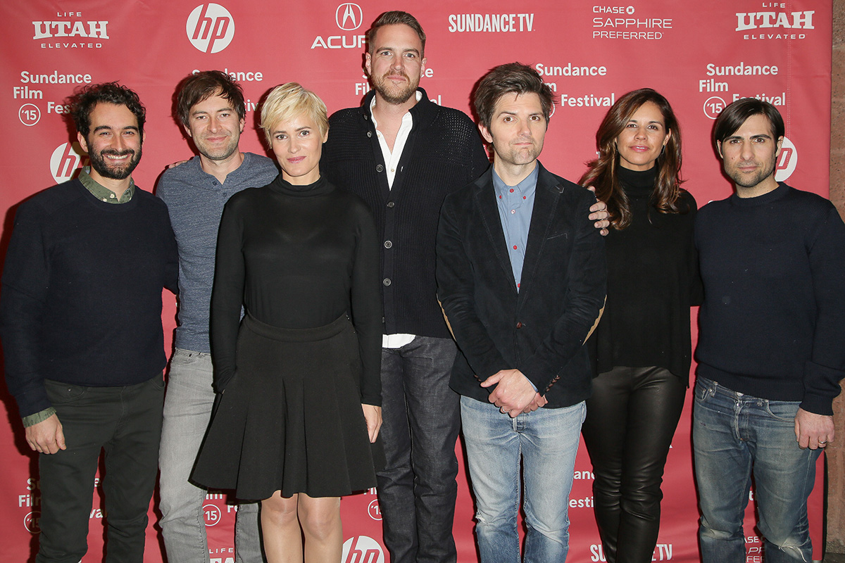 "PARK CITY, UT - JANUARY 23:  (L-R) Jay Duplass, actor Mark Duplass, actress Judith Godreche, director Patrick Brice, actor Adam Scott, producer Naomi Scott and actor Jason Schwartzman arrive at ""The Overnight"" premiere during the 2015 Sundance Film Festival on January 23, 2015 in Park City, Utah.  (Photo by Chelsea Lauren/Getty Images for Sundance)"