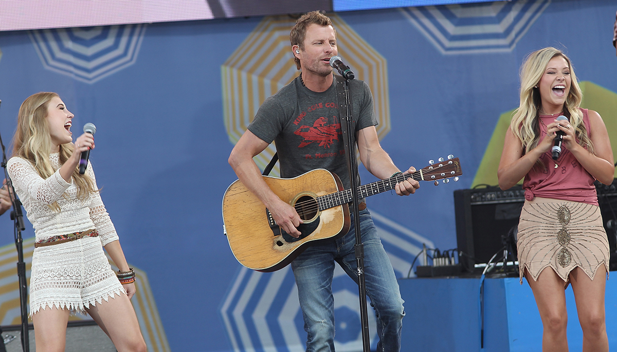 "Maddie & Tae perform with Dierks Bentley on ""Good Morning America"" in June."