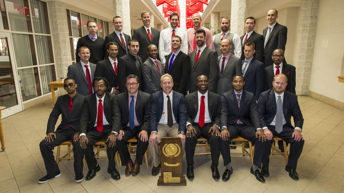 The 1999 Division III National Champion St. Lawrence University soccer team, with Hillary seated third from the left in the front row.
