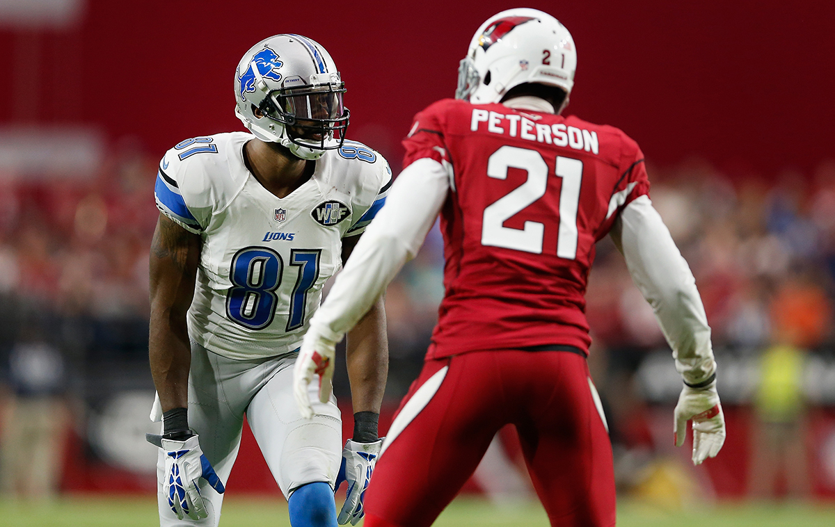 Calvin Johnson and Patrick Peterson face off.