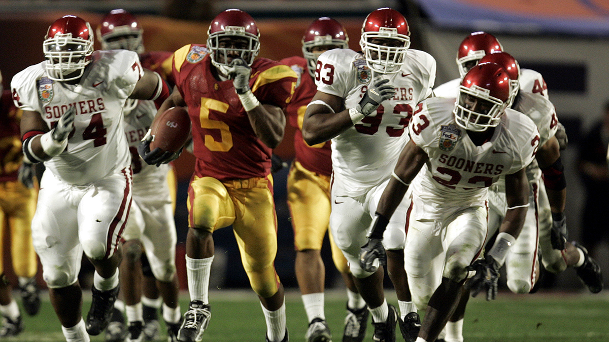 It off to the races as USC Trojans' Reggie Bush gets away from the defense for a long run against t