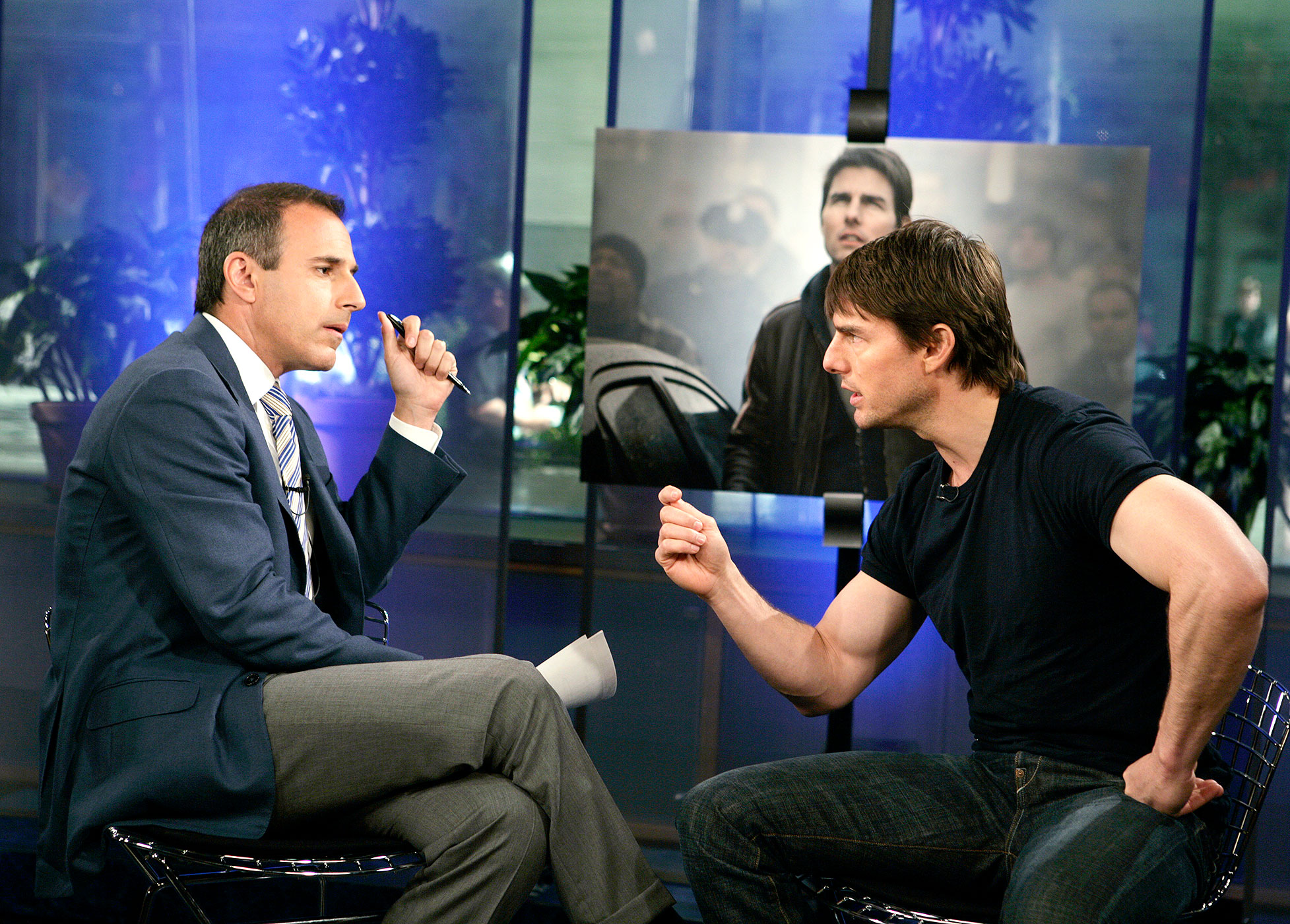 Matt Lauer and Cruise on 'The Today Show' in 2005.