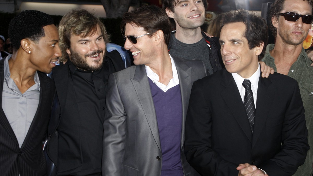 "Brandon T. Jackson, Jack Black, Tom Cruise, Bill Hader, Ben Stiller, and Matthew McConaughey at the premiere of ""Tropic Thunder"" in Los Angeles."
