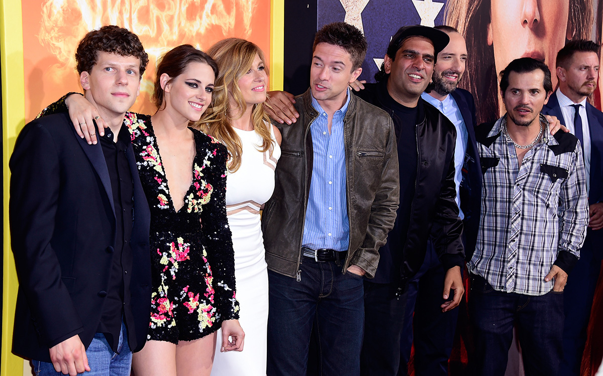 "Eisenberg, Stewart, Connie Britton, Topher Grace, Nourizadeh, Tony Hale and John Leguizamo at the ""American Ultra"" premiere at the Ace Theater Downtown LA."