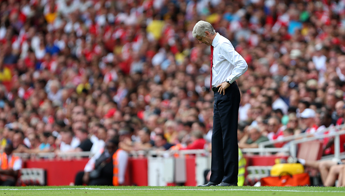 Arsene Wenger during the match between Arsenal and West Ham United on August 9.