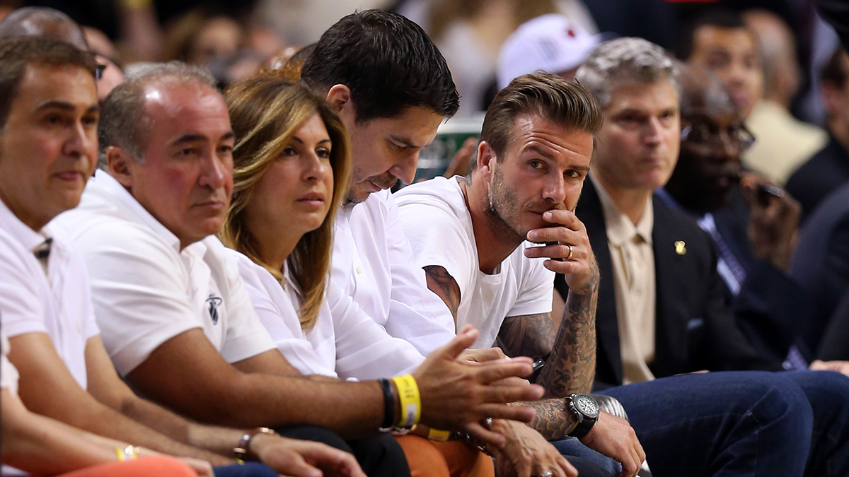 David Beckham sitting courtside at a Heat playoff game in 2013. The Heat were one of the hottest tickets in sports back then, and anybody who wanted a piece of the action in Miami hoped to be seen at the American Airlines Arena.