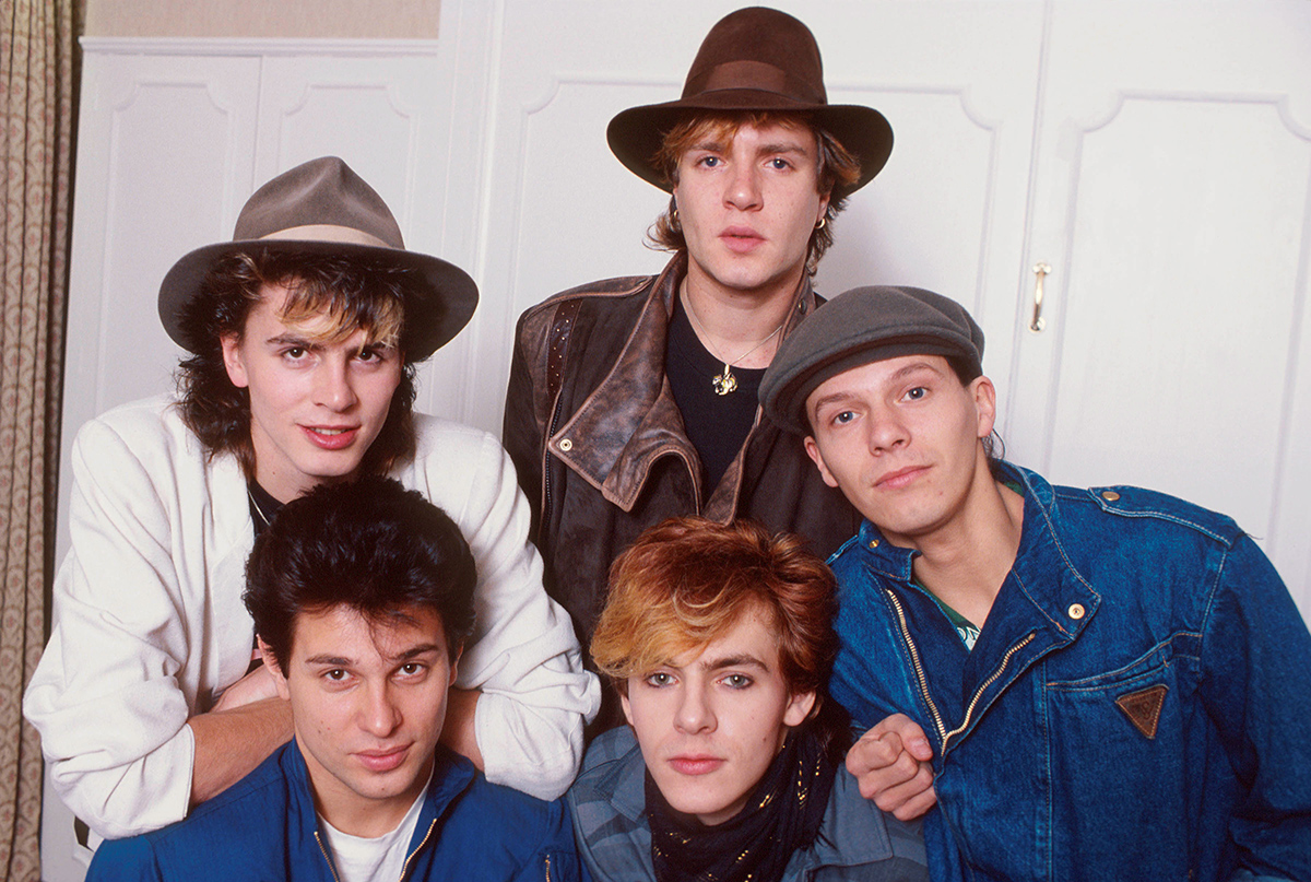 Duran Duran in 1981. L-R: John Taylor, Simon Le Bon, (front) Roger Taylor, Nick Rhodes and Andy Taylor.