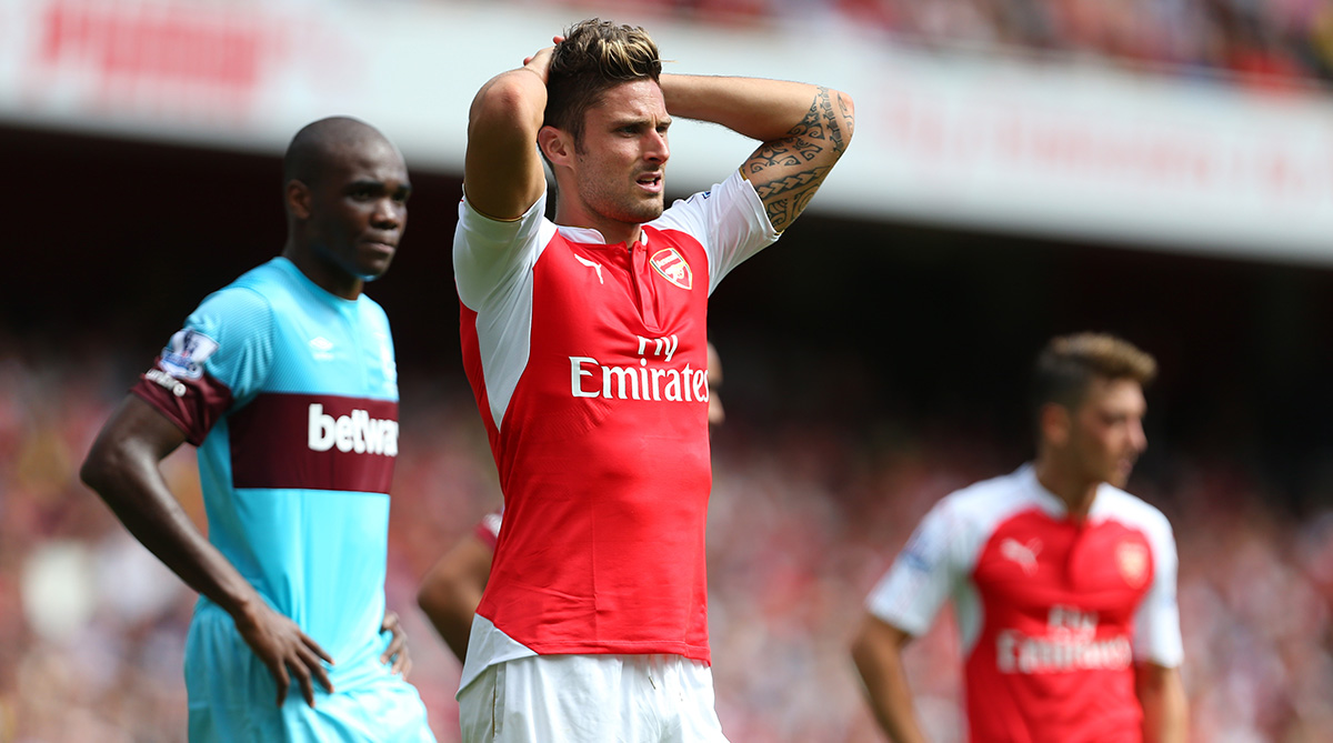 Olivier Giroud during the match between Arsenal and West Ham on August 9.