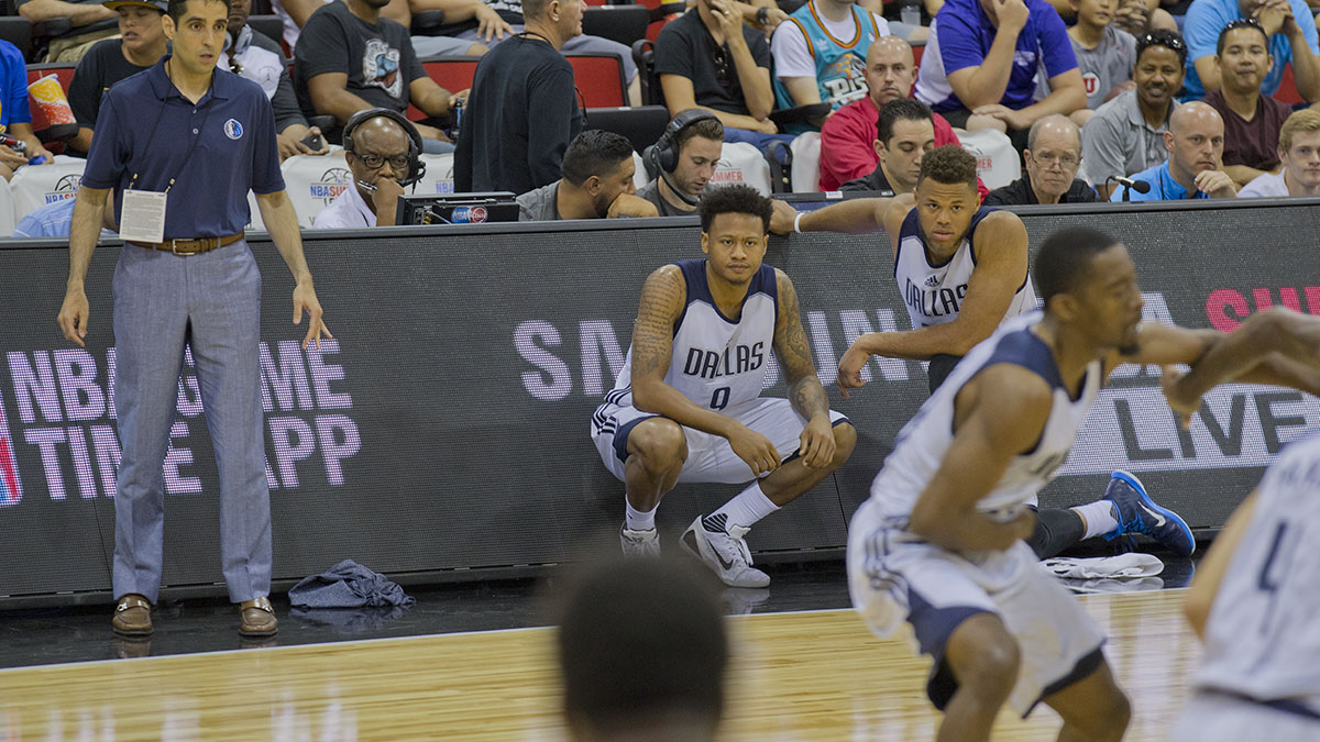 Ray getting ready to sub in for the first time at NBA Summer League.