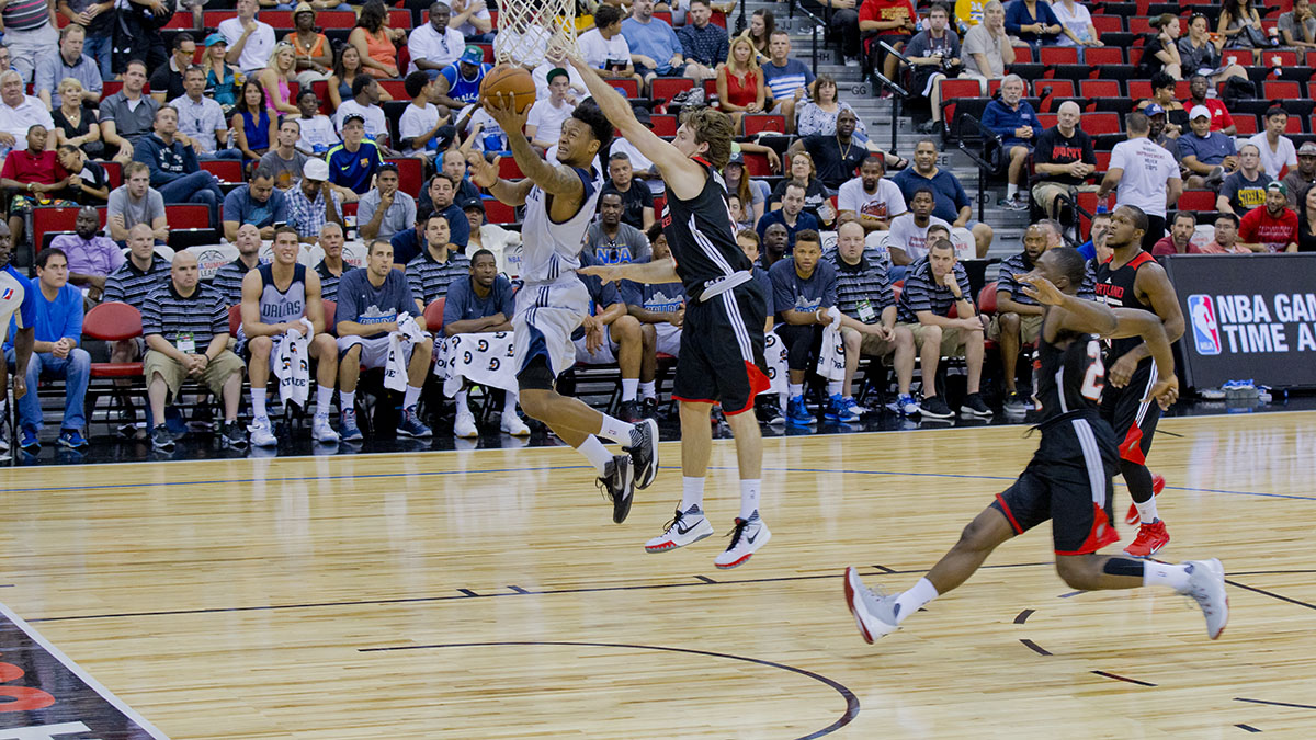 Ray draws a foul on Portland's Pat Connaughton before scoring his first summer league point at the free throw line.