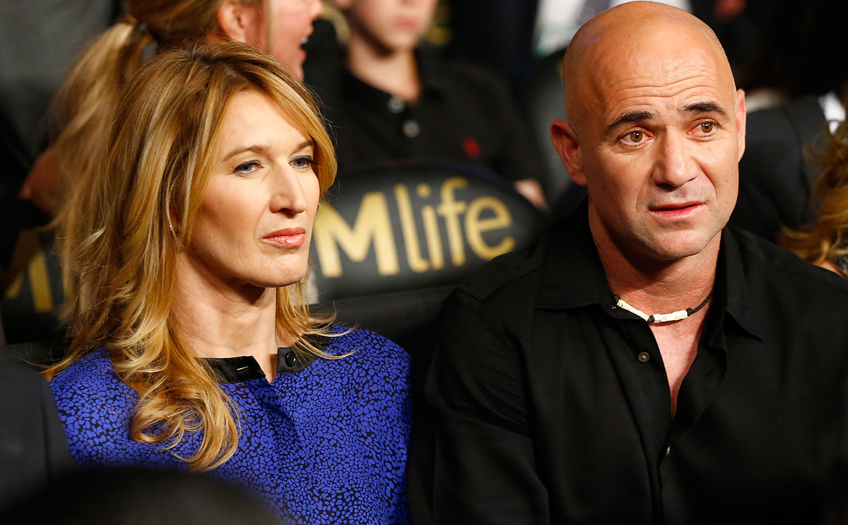 Graf and Agassi at the Mayweather-Pacquiao bout in May.