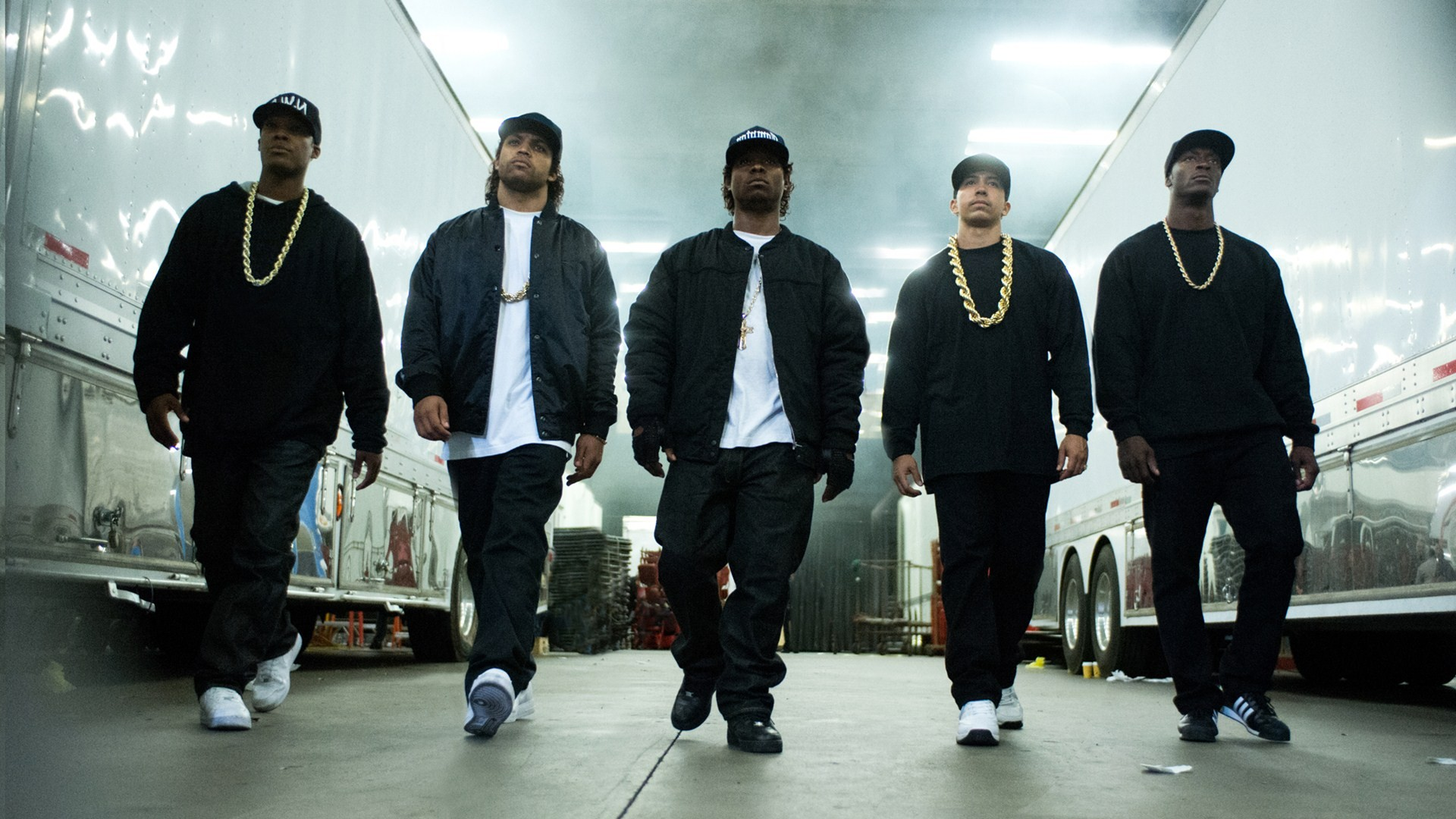 (L-R) Corey Hawkins as Dr. Dre, O'Shea Jackson, Jr. as Ice Cube, Jason Mitchell as Eazy-E, Neil Brown Jr. as DJ Yella, and Aldis Hodge as MC Ren in 'Straight Outta Compton.