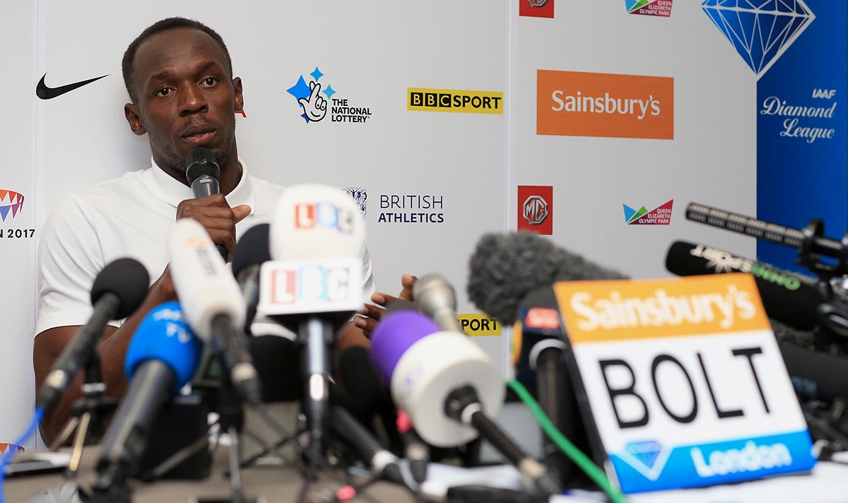 Bolt speaks during a press conference in July in London.