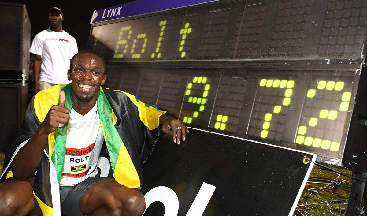 Bolt celebrates after winning the Men's 100m in 2008 in New York City, setting a new world record in the process.