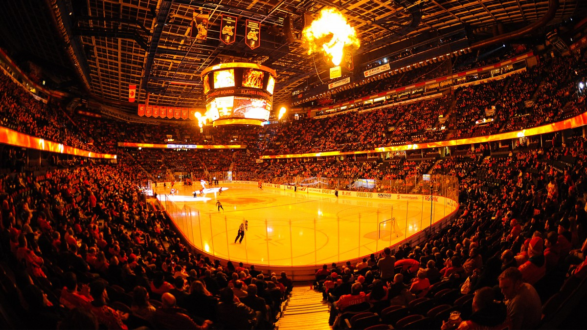 View of the interior of Scotiabank Saddledome prior to an NHL game between the Calgary Flames and the Columbus Blue Jackets.