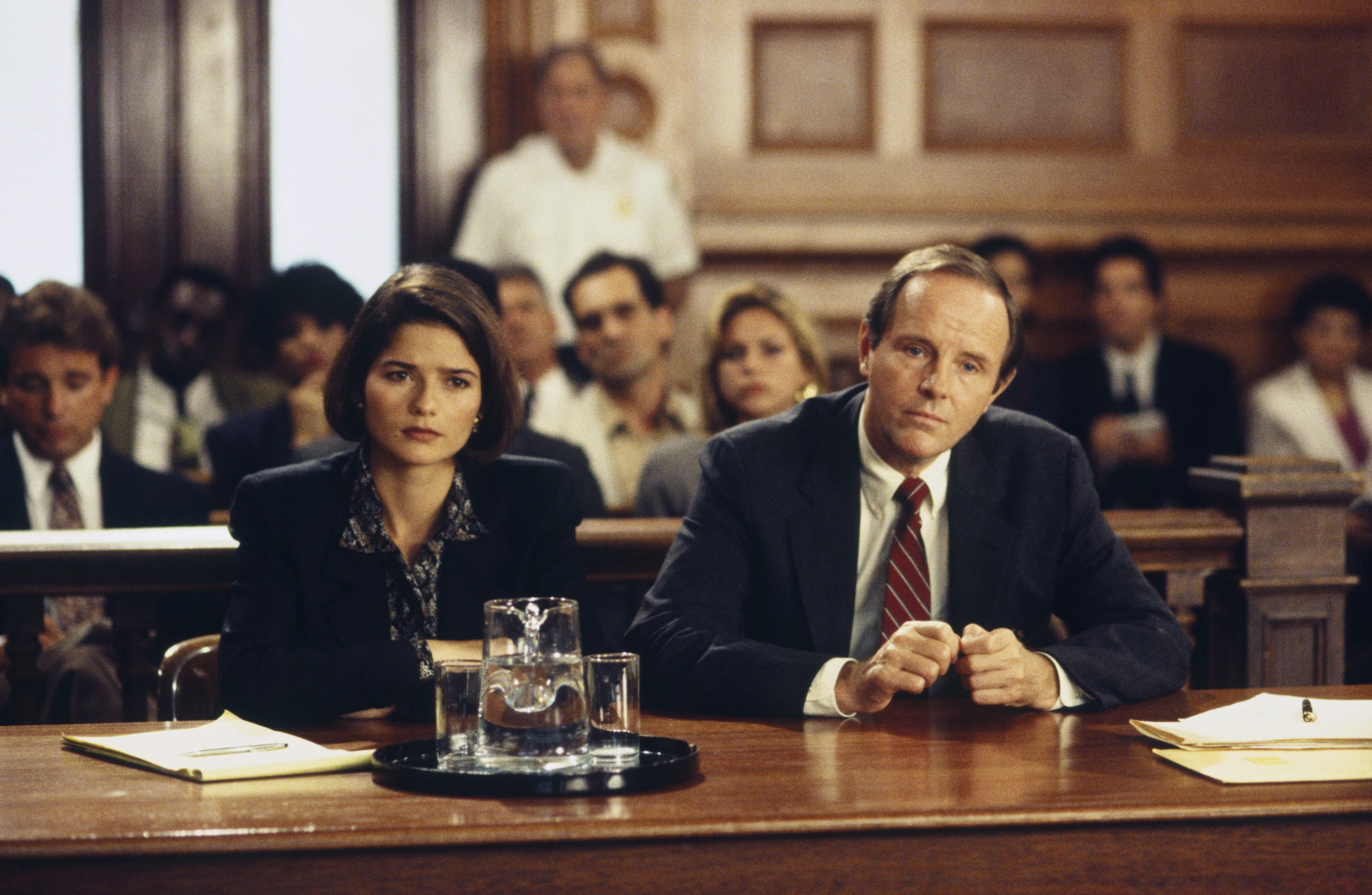 "LAW & ORDER -- ""Profile"" Episode 4 -- Air Date 10/13/1993 -- Pictured: (l-r) Jill Hennessey as Claire Kincaid, Michael Moriarty as Executive A.D.A. Ben Stone (Photo by Gerry Goodstein/NBC/NBCU Photo Bank via Getty Images)"