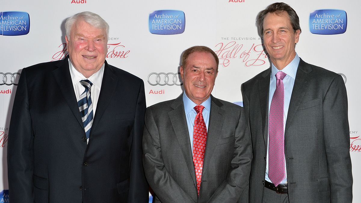 BEVERLY HILLS, CA - John Madden, Al Michaels and Cris Collinsowrth at the Academy of Television Arts & Sciences' Hall of Fame induction in 2013.