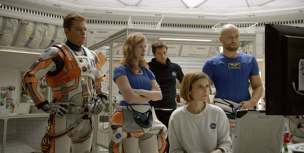 Damon, Jessica Chastain, Sebastian Stan, Kate Mara, and Aksel Hennie in 'The Martian.'