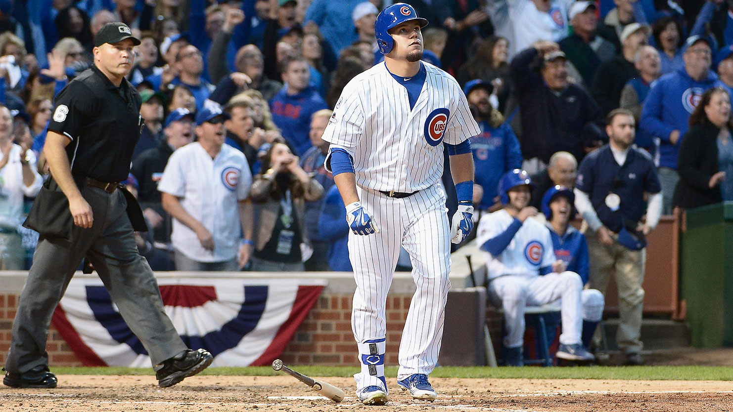 That's the face Kyle Schwarber makes after hitting a baseball to Mars.