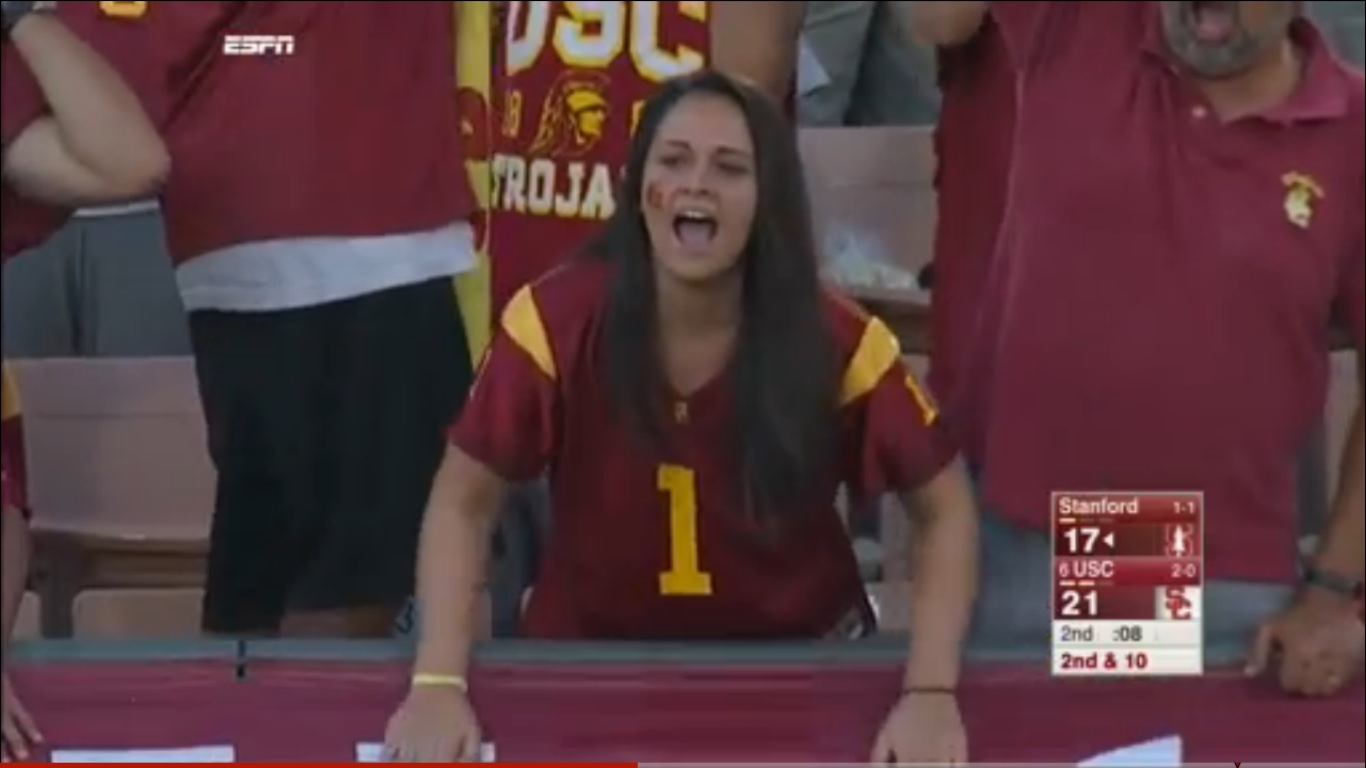 """Nervous USC Fan"" at Stanford's September 19 win over USC in Los Angeles."