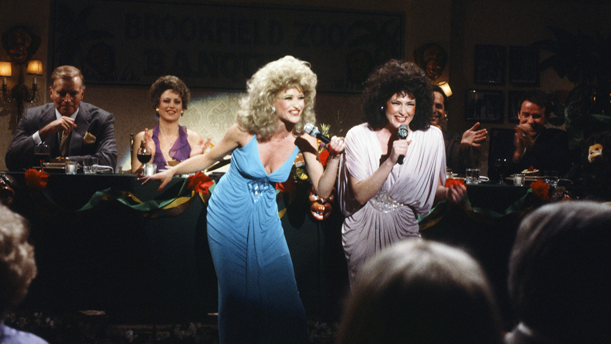 Jan Hooks and Nora Dunn performing as the Sweeney Sisters.